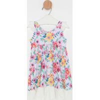 Vestido Floral Com Renda- Branca & Rosa- Primeiro Pafiotty