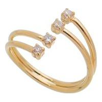 Anel Com Cristal Banhado A Ouro- Incolor Dourado- Carolina Alcaide
