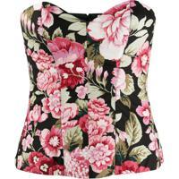 P.A.R.O.S.H. Floral Print Cotton Corset - Rosa