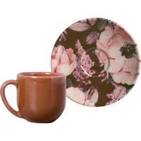 Xícara De Café Com Pires Bonjour Floral E Marrom