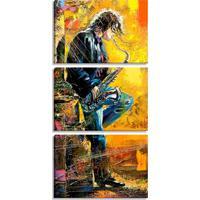 Conjunto Pump Up De 3 Telas Decorativas Estilo Pintura Músico Saxofone - Montada: 185X90Cm (A-L) Unico Amarelo