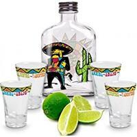 Kit Para Tequila Divertido Com Garrafa + 4 Copos (5 Pçs)