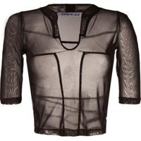 Supriya Lele Blusa Cropped Translúcida - Marrom
