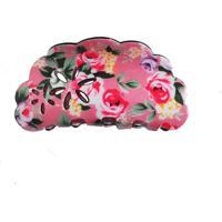 Presilha Acrílico Ania Store Floral Rosa