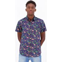 Camisa Hd Tropical Estampada Marinho