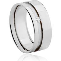 Aliança Noiva 8 Mm Ouro Branco E Diamante