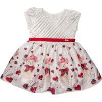 Vestido Infantil Barrado Ursos Coração - Anjos Baby Chic