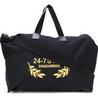 Dsquared2 Bolsa Com Bordado '24-7' - Preto