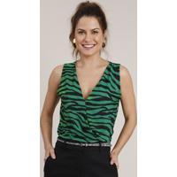 Regata Feminina Transpassada Estampada Animal Print Zebra Decote V Verde