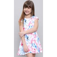 Vestido Infantil Estampado Floral Manga Curta Branco