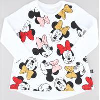 Blusa Infantil Minnie Com Glitter Manga Longa Decote Redondo Branca