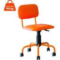 Cadeira De Escritório Secretária Giratória Color Pistão A Gás Corano Laranja