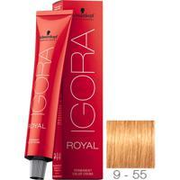 Coloração Schwarzkopf Igora Royal 9-55 Louro Extra Claro Dourado Extra 60G