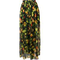 Msgm Botanical Print High Waisted Skirt - Preto