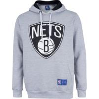 Blusão Com Capuz Nba Brooklyn Nets - Masculino - Cinza Esc Mescla