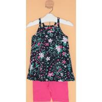 Conjunto De Blusa Floral + Bermuda- Azul Marinho & Rosakyly