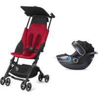 Carrinho De Bebê Gb Pockit Plus Vermelho Com Bebê Conforto Idan Gb