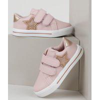 Tênis Infantil Baby Club Com Velcro Rosa
