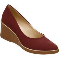 Sapato Anabela Acamurã§Ado - Bordã´ & Marrom- 7,2Cm