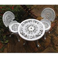 Conjunto De Mesa De Plástico Redonda 70Cm E 2 Cadeiras Colonial Branco