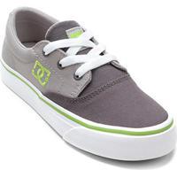 Tênis Infantil Dc Shoes Flash 2 Tx La Masculino - Masculino-Cinza+Verde