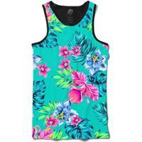 Camiseta Bsc Regata Flower Plants Full Print - Masculino-Preto