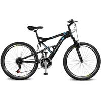 Bicicleta Kyklos Aro 26 Caballu 7.8 Suspensão Full Baixa A-36 21V Preto/Azul