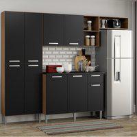 Cozinha Compacta Pequim 9 Portas Mp2933 Multimóveis Carvalho Avelá/Preto Marrom