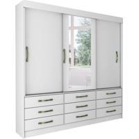 Guarda-Roupa Casal Com Espelho Chicago 3 Pt Branco