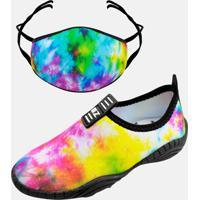 Kit Infantil Tênis Calce Fácil E Máscara Mz Shoes Tie Dye