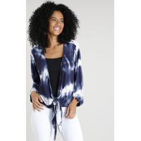 Kimono Feminino Estampado Tie Dye Com Nó Azul Marinho