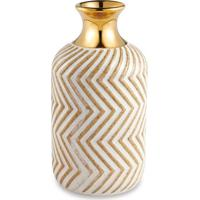 Vaso Geomã©Trico- Nude & Dourado- 14Xã˜7,5Cm- Martmart
