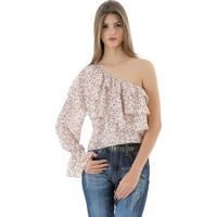 Blusa Unique Chic Um Ombro Floral