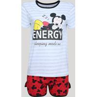 Pijama Feminino Mickey Manga CurtaCinza Mescla
