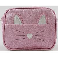 Bolsa Infantil Gatinho Com Glitter Rosa - Único