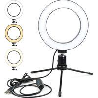 Iluminador Anel De Led Ring Light Usb 16Cm Com Mini Tripé