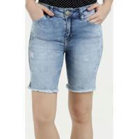 Bermuda Feminina Jeans Puidos Cintura Média Five Jeans