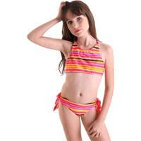 Biquíni Infantil Líquido Listras Surf - Feminino-Laranja