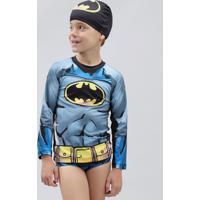 Conjunto De Camiseta De Praia Infantil Batman + Sunga + Touca Preto