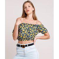 Blusa Feminina Cropped Ombro A Ombro Estampada De Limão Manga Curta Preta