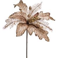 Flor Natalina Artificial Poinsettia Nude Glitter 30Cm 1 Peça