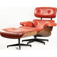 Poltrona E Puff Charles Eames - Couro Envelhecido Ch16