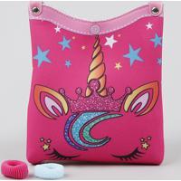 Bolsa Infantil Unicórnio + Elásticos De Cabelo Pink - Único
