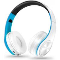 Fone De Ouvido Bluetooth Dobrável - Branco E Azul