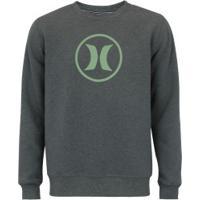 Blusão De Moletom Hurley Careca O&O - Masculino - Verde Escuro