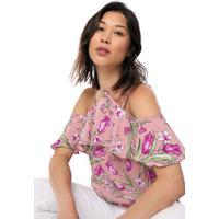 Blusa Ciganinha Lily Fashion Floral Lilás