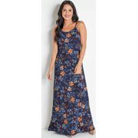 Vestido Longo Floral Com Alças