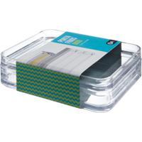 Porta Frios - Mod 15,9 X 12,3 X 4,4 Cm Cristal Com Branco Coza