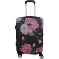 Mala Floral- Preta & Rosa Claro- 56X38X23Cmsantino