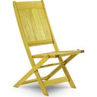Cadeira Dobrável Gourmet De Madeira Para Piscinas Sem Braços Acqualung+ Stain Amarelo